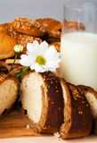 Bread, cookies and milk Stock Image