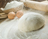 Bread cooking.Dough. Process of bread cooking.Close-up image Royalty Free Stock Images