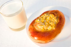 Bread with corn. And milk Royalty Free Stock Photos