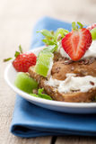 Bread with cottage cheese and berries Royalty Free Stock Image