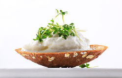 Bread with cottage cheese and cress Royalty Free Stock Photo