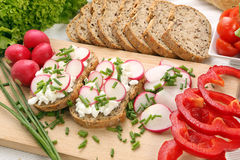 Bread with cottage cheese with radish and chives Royalty Free Stock Images