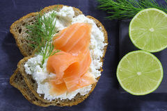 Bread with cottage cheese and  salmon Stock Photography
