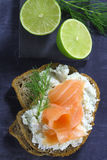 Bread with cottage cheese and salmon Royalty Free Stock Images