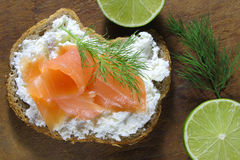 Bread with cottage cheese and salmon Royalty Free Stock Photos