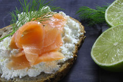 Bread with cottage cheese Stock Photography