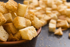 Bread crackers on a baking sheet. Bread crumbs on a baking sheet, roast crackers royalty free stock photo
