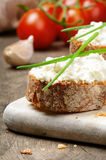 Bread with cream cheese Royalty Free Stock Images