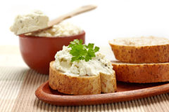 Bread with cream cheese Royalty Free Stock Photos