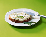 Bread with cream cheese Stock Photography
