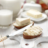 Bread with cream cheese close up Stock Photo