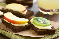 Bread with Cream Cheese and Fruit Slices Royalty Free Stock Photography