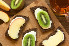 Bread with Cream Cheese and Fruit Slices Royalty Free Stock Photo