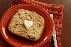 Bread with cream cheese heart Stock Images