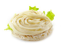 Bread with cream cheese Stock Images