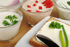 Bread and Cream Cheese Spreads Royalty Free Stock Photo
