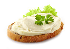 Bread with cream cheese Royalty Free Stock Photo