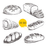 Bread, cream roll tube, eclair on white background. Vintage hand drawn sketch fresh style bakery set. Bread, cream roll tube, eclair on white background Stock Photo