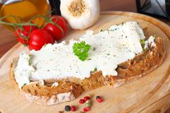 Bread with creamcheese Stock Photography