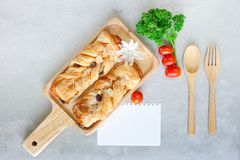 Bread crisp danish with raisins and almond royalty free stock photo