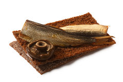 Bread crisp with smoked sprats, soft cheese and mushroom Stock Image