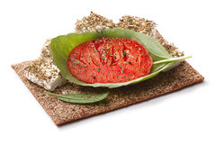 Bread crisp with tomato, cheese and basil Royalty Free Stock Photos