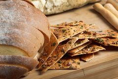 Bread and crisps Royalty Free Stock Images