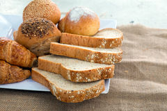 Bread and Croissant Royalty Free Stock Photography