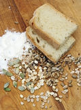 Bread with crops and seeds stock photo