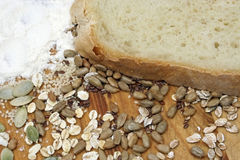 Bread with crops and seeds Royalty Free Stock Image