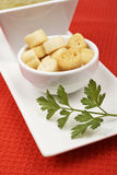 Bread croutons, parsley and spinach puree Royalty Free Stock Photos