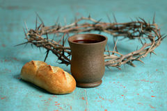 Bread, Crown and Crown of Thorns Stock Images