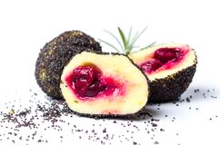 Bread crumb dumplings with cherry and poppy seeds Royalty Free Stock Photo