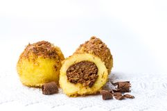 Bread crumb dumplings with chocolate isolated Stock Image