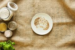 Bread crumbs on a plate stock photo
