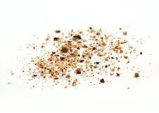 Bread crumbs on white Stock Images