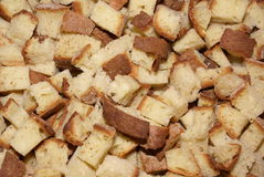 Bread Cubes. Cubes of fresh, Italian bread. background concept stock image