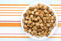 Bread cubes, croutons Royalty Free Stock Image