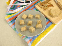 Bread cubes with pate for toddlers Royalty Free Stock Photography