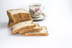 Bread with cup Royalty Free Stock Photos