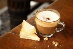 Bread and a cup of delicious coffee. A Bread and a cup of delicious coffee Royalty Free Stock Photography