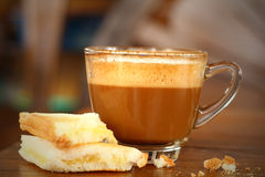 Bread and a cup of delicious coffee. A Bread and a cup of delicious coffee Royalty Free Stock Image
