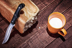 Bread and cup of milk Royalty Free Stock Photography