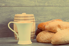 Bread and a cup of milk Stock Image