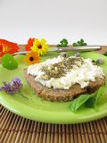 Bread and curd with spices and flowers salt Royalty Free Stock Photo