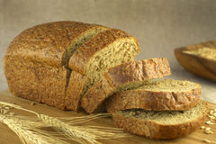 Bread cut on a blurry background Royalty Free Stock Photo