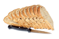 Bread cut and knife Stock Image