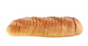 The bread cut by slices, isolated. Royalty Free Stock Photo
