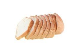 Bread cut by slices isolated. Stock Photography