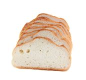 Bread cut by slices isolated. Royalty Free Stock Image